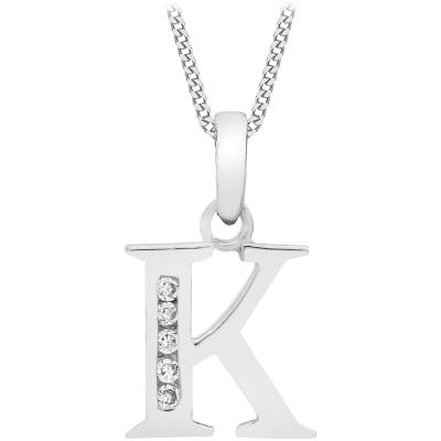 Ladies Essentials 9ct White Gold Initial K Cubic Zirconia Pendant AJ-14430036