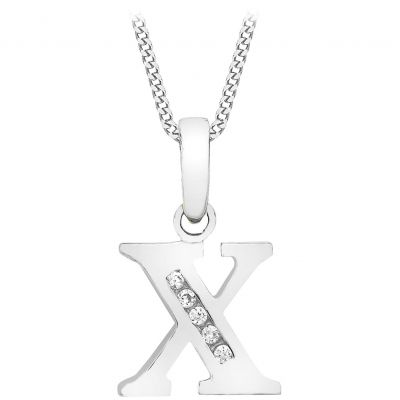 Ladies Essentials 9ct White Gold Initial X Cubic Zirconia Pendant AJ-14430049