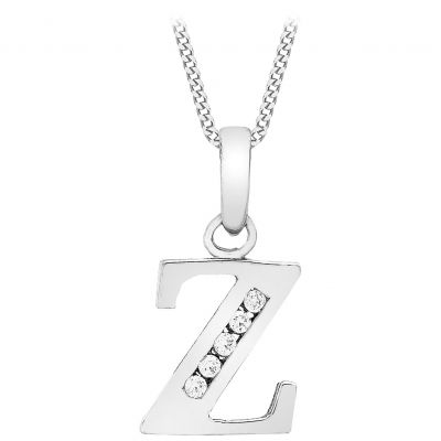 Ladies Essentials 9ct White Gold Initial Z Cubic Zirconia Pendant AJ-14430051