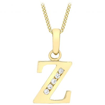 Ladies Essentials 9ct Gold Initial Z Cubic Zirconia Pendant AJ-14430025