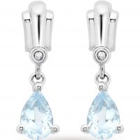 Ladies Essentials 9ct White Gold Diamond and Blue Topaz Earrings AJ-12152394