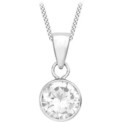 Ladies Essentials 9ct White Gold Cubic Zirconia Pendant AJ-14410188
