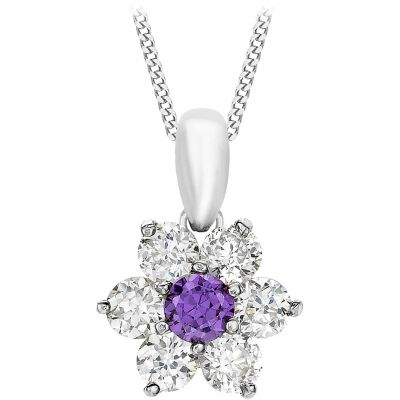 Damen Jewellery Essentials Purple and White Cubic Zirconia Flower Anhänger 9 Karat Weißgold AJ-14410228