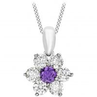 Jewellery Essentials Purple and White Cubic Zirconia Flower Pendant JEWEL