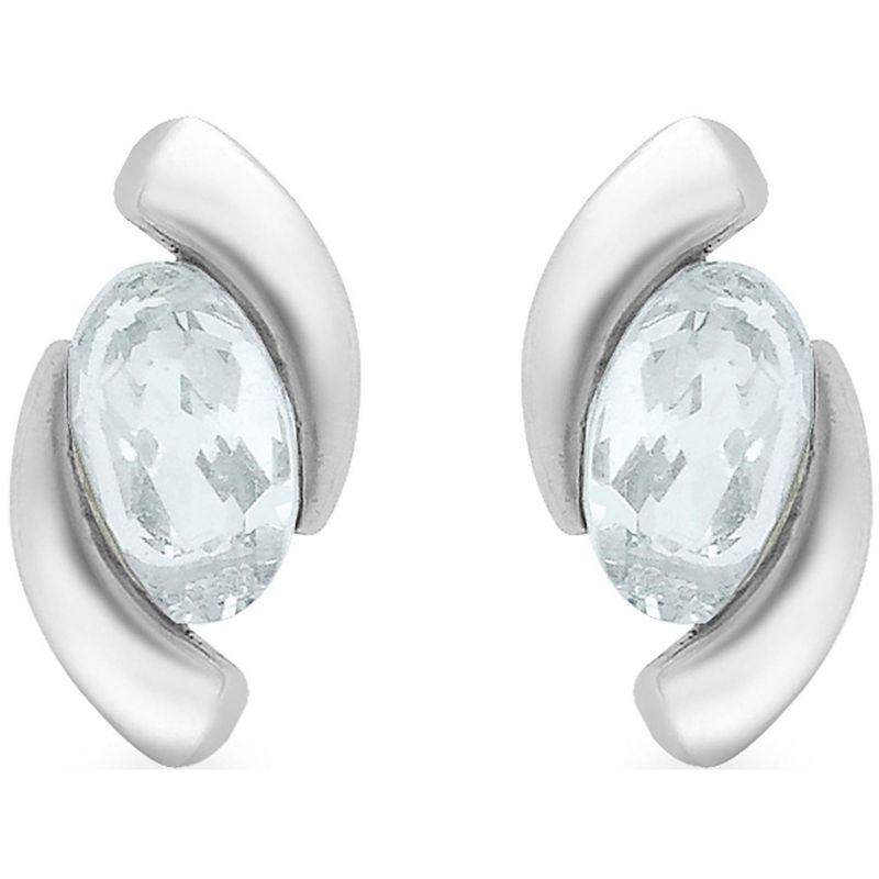 Ladies Essentials 9ct White Gold Aquamarine Stud Earrings AJ-15030606