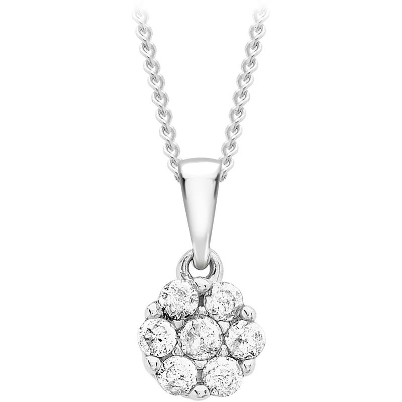 Ladies Essentials 9ct White Gold 0.20ct Diamond Cluster Pendant