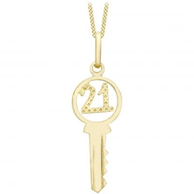 Damen Jewellery Essentials 21 Key Anhänger 9 Karat Gold AJ-14410143