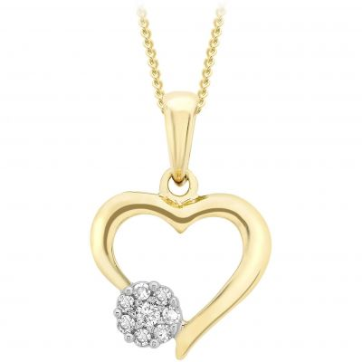 Jewellery Essentials Dames Diamond Open Heart Pendant 9K Goud AJ-12142491