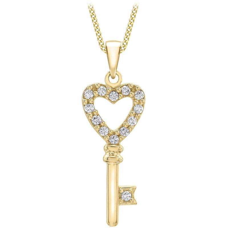 Ladies Essentials 9ct Gold Cubic Zirconia Key Pendant