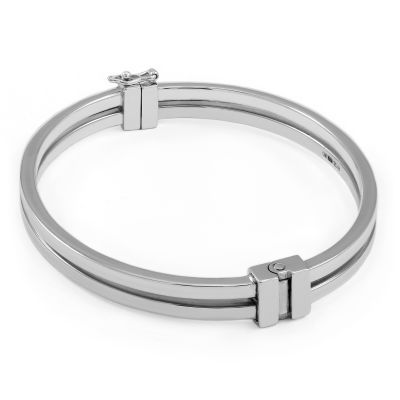Ladies Essentials Sterling Silver Two Row Bangle AJ-37230124