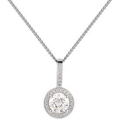 Jewellery Essentials Dames Cubic Zirconia Round Halo Pendant Sterling Zilver AJ-37230250