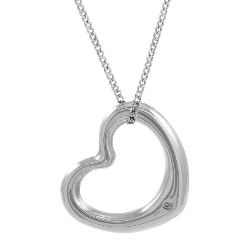 Ladies Essentials 9ct White Gold Italian Open Heart Pendant AJ-14410115