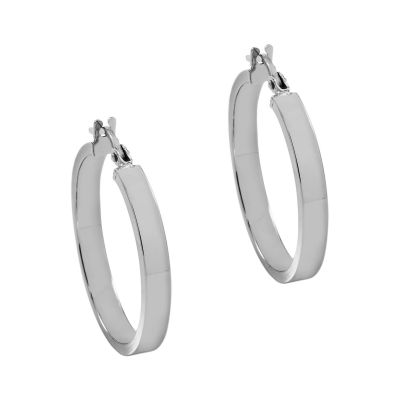 Ladies Essentials 9ct White Gold Italian Plain Hoop Earrings AJ-15030304