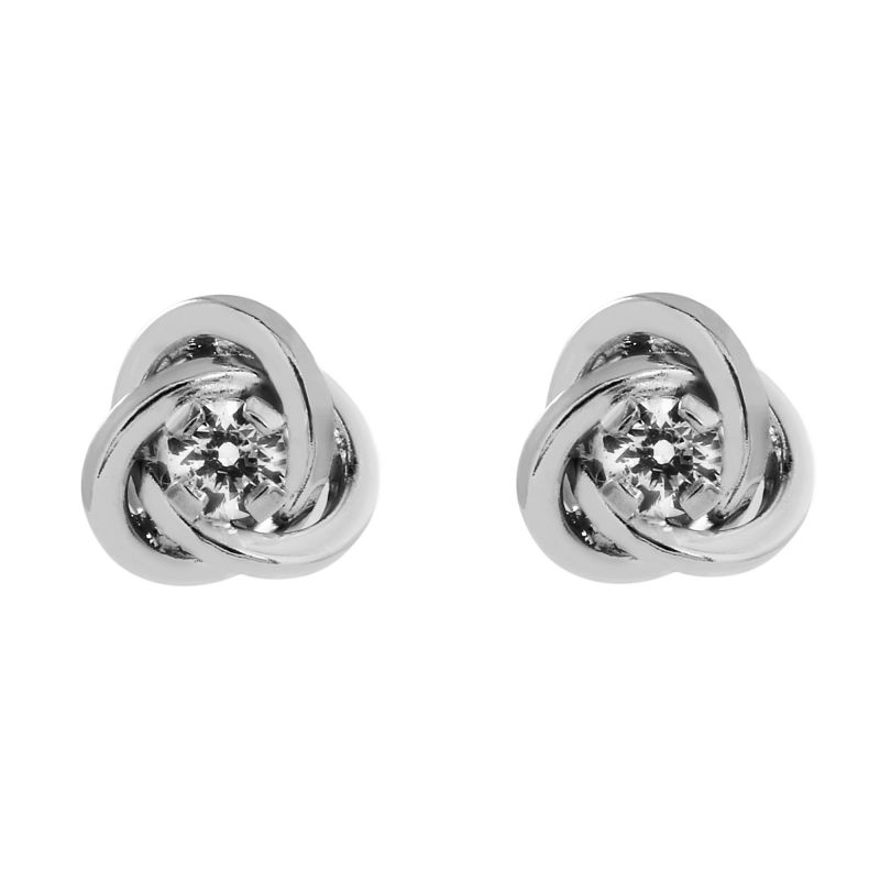 Ladies Essentials 9ct White Gold Cubic Zirconia Knot Earrings AJ-15047012
