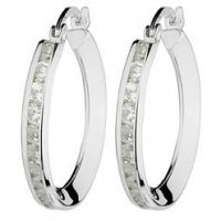 Jewellery Essentials Italian Cubic Zirconia Hoop Earrings JEWEL