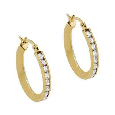 Ladies Essentials 9ct Gold Italian Cubic Zirconia Hoop Earrings AJ-15090014