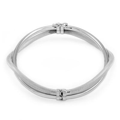 Ladies Essentials 9ct White Gold Plain Bangle AJ-11070189