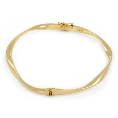 Ladies Essentials 9ct Gold Plain Wave Bangle AJ-11070193
