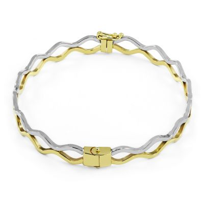 Ladies Essentials Multi colour gold Zig Zag Bangle AJ-11070207