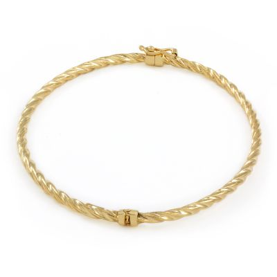 Ladies Essentials 9ct Gold Twist Hinge Bangle AJ-11070211