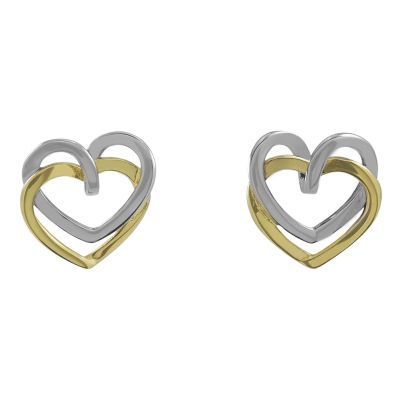 Damen Jewellery Essentials Open Heart Stud Ohrringe mehrfarbiges Gold AJ-15010193