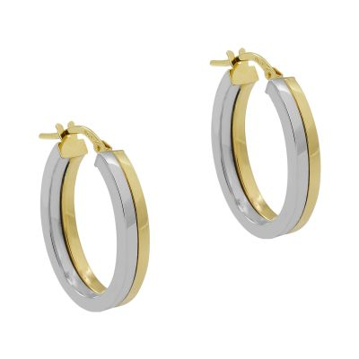 Damen Jewellery Essentials Oval Hoop Ohrringe mehrfarbiges Gold AJ-15030408