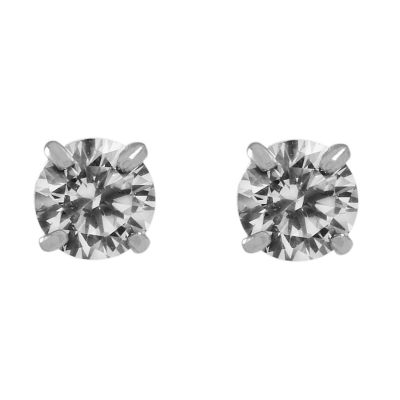 Ladies Essentials 9ct White Gold 4mm Cubic Zirconia Stud Earrings AJ-15040109