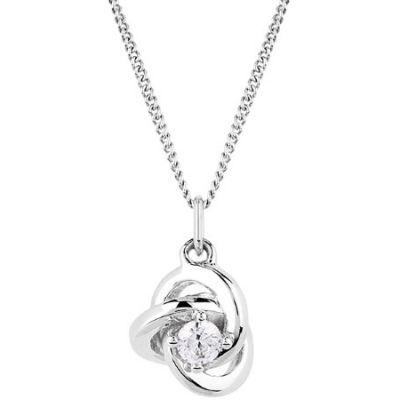 Ladies Essentials 9ct White Gold Cubic Zirconia Knot Pendant AJ-14410135