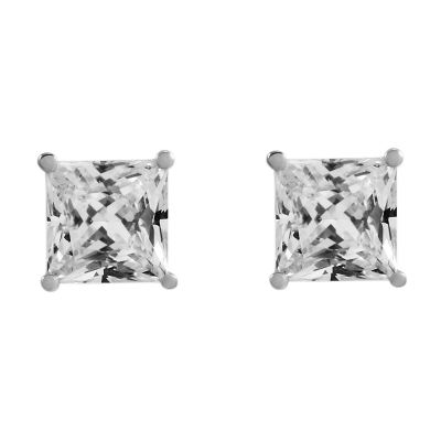 Ladies Essentials 9ct White Gold 4mm Cubic Zirconia Stud Earrings AJ-15040087