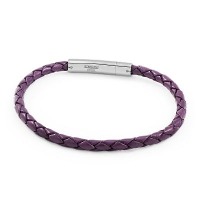 Jewellery Essentials Herr Purple Leather Band with Clasp Rostfritt stål AJ-11420003