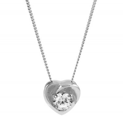 Ladies Essentials 9ct White Gold Cubic Zirconia Heart Pendant AJ-14410139
