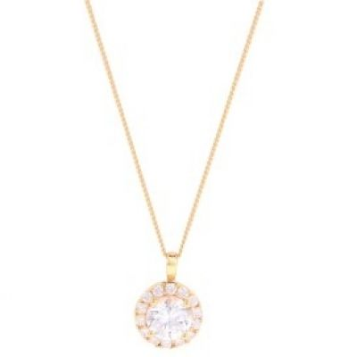 Damen Jewellery Essentials Cubic Zirconia Halo Anhänger 9 Karat Gold AJ-14110001