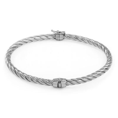 Ladies Essentials Sterling Silver Twisted Hinge Bangle AJ-37230897