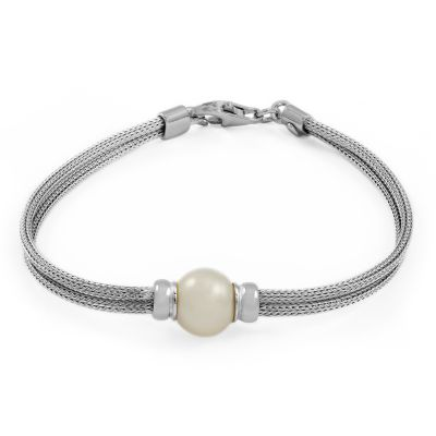 Ladies Essentials Sterling Silver Freshwater Pearl Mesh Bracelet AJ-37233194