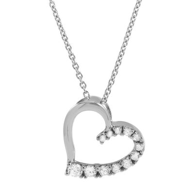 Ladies Essentials Sterling Silver Cubic Zirconia Open Heart Pendant AJ-37230054