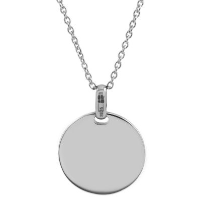 Jewellery Essentials Dames 17x17mm Engravable Disc Pendant Sterling Zilver AJ-37230777