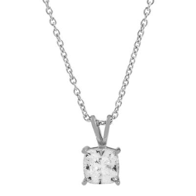 Ladies Essentials Sterling Silver Cubic Zirconia Cushion Pendant AJ-37230916