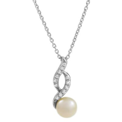 Ladies Essentials Sterling Silver Freshwater Pearl & Cubic Zirconia Swoop Pendant AJ-37233156