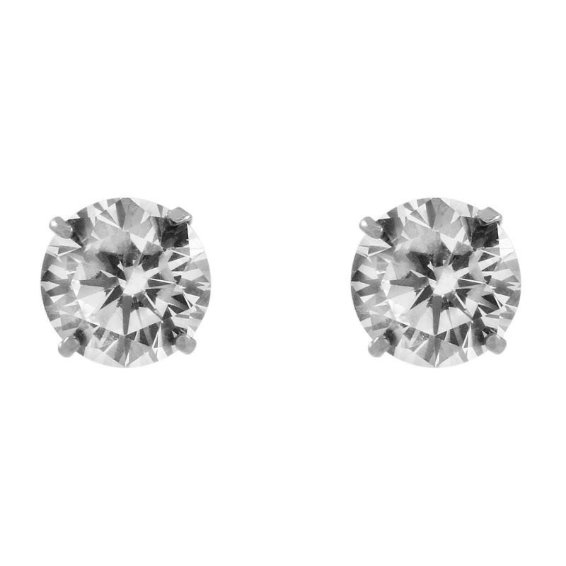 Ladies Essentials 9ct White Gold 6mm Cubic Zirconia Stud Earrings