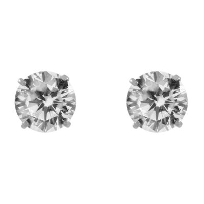Ladies Essentials 9ct White Gold 6mm Cubic Zirconia Stud Earrings AJ-15040089
