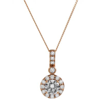 Jewellery Essentials Dames Cubic Zirconia Halo Pendant 9K Rose Goud AJ-14410133