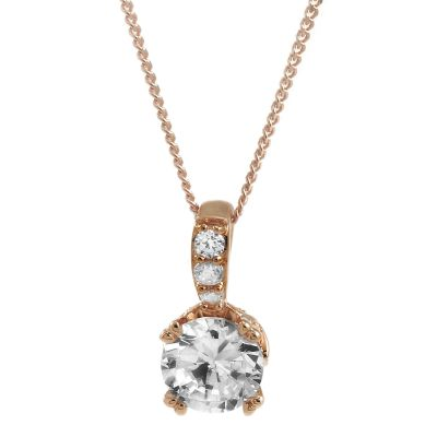 Jewellery Essentials Dames Cubic Zirconia Round Brilliant Pendant 9K Rose Goud AJ-14410136