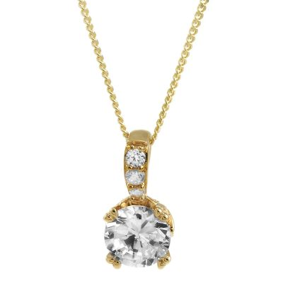 Damen Jewellery Essentials Cubic Zirconia Round Brilliant Anhänger 9 Karat Gold AJ-14410137