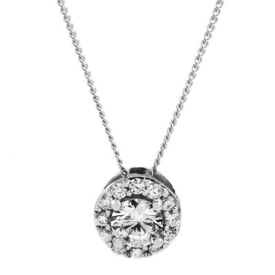 Jewellery Essentials Dames Cubic Zirconia Halo Pendant 9K Witgoud AJ-14110002