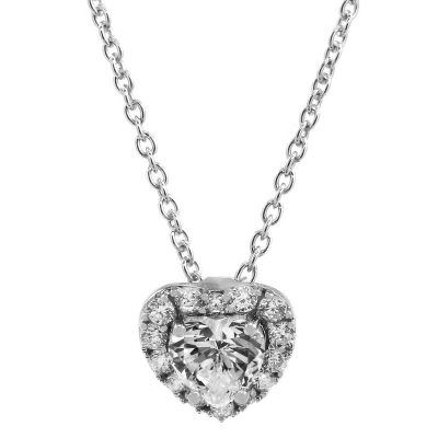 Ladies Essentials Sterling Silver Cubic Zirconia Heart Pendant AJ-37230864