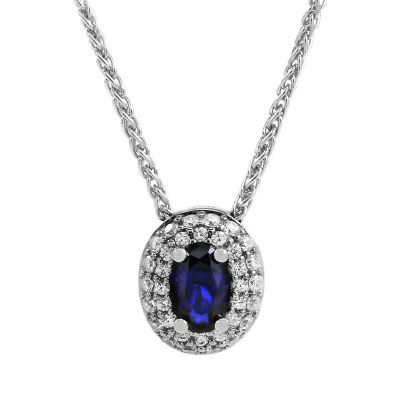 Jewellery Essentials Dames Cubic Zirconia Double Halo Blue Pendant Sterling Zilver AJ-37230906