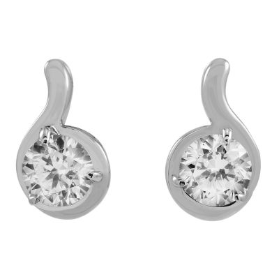 Ladies Essentials Sterling Silver Cubic Zirconia Swirl Stud Earrings AJ-37230917