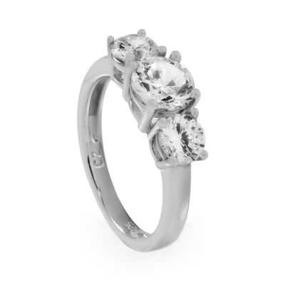Ladies Essentials Sterling Silver Cubic Zirconia Three Stone Ring AJ-37230687M