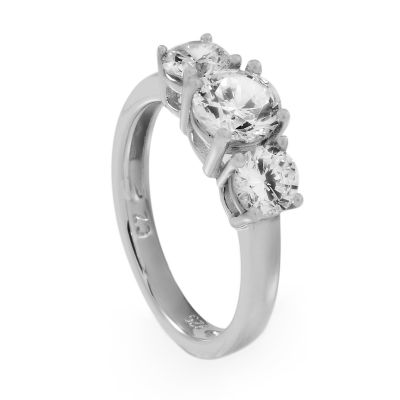 Ladies Essentials Sterling Silver Cubic Zirconia Three Stone Ring AJ-37230687L