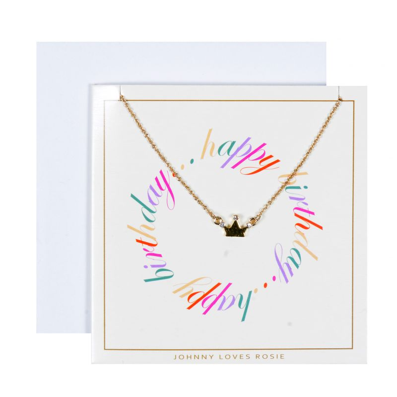 Ladies Johnny Loves Rosie Base metal Birthday Wishes Crown Necklace Gift Card JLR-GCARD-HBDAY